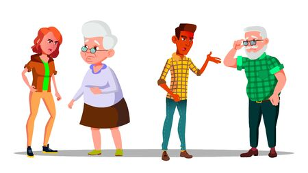 Young Generation Character Abuse Cry At Old . Anger Man And Woman Abuse Screaming Shouting At Grandmother And Grandfather. Family Problem And Conflict Flat Cartoon Illustration