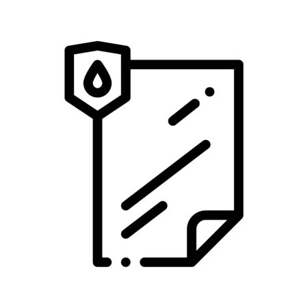 Waterproof Material File Vector Thin Line Icon. Waterproof Material Lamination Document, Industrial Use Linear Pictogram. Clothes, Moisture Absorbing Substance Contour Illustration