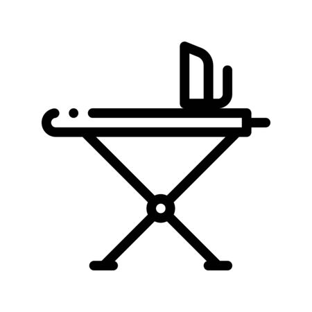 Laundry Service Ironing Equipment Vector Line Icon. Iron And Skirt-board Laundry Service, Washing Clothes Dress Linear Pictogram. Laundromat, Dry-Cleaning, Launderette Contour Illustration Иллюстрация