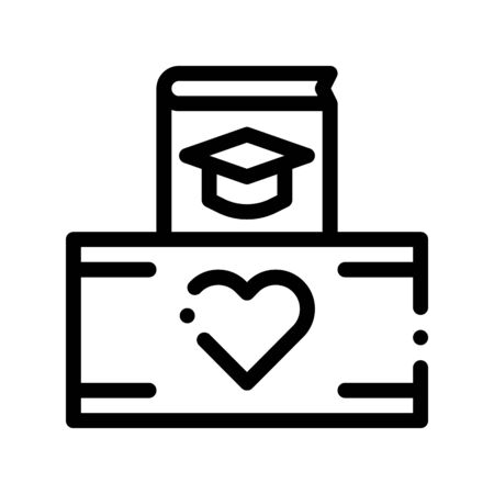 Volunteers Support Study Box Vector Thin Line Icon. Volunteers Support, Help Charitable Organizations, Heart On Package Linear Pictogram. People Silhouette Blood Donor Contour Illustration