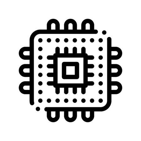 Icône De Ligne Mince De Vecteur De Processeur D'élément D'ordinateur. Système de codage informatique, pictogramme linéaire de cryptage de données. Développement Web, langages, script, à la recherche d'illustration de contour de problème de programme Vecteurs