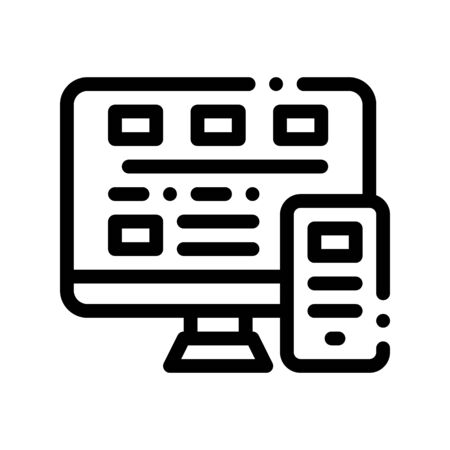 Computer Smartphone System Vector Thin Line Icon. Binary Coding System, Data Encryption Linear Pictogram. Web Development, Programming Languages, Bug Fixing, HTML, Script Contour Illustration