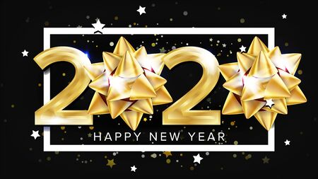 2020 Happy New Year Party Elegant Banner Vector. Golden Glossy Two Thousand Twenty 2020 Number White Frame Stars And Rounds On Black Background. Greeting Poster Realistic 3d Illustration