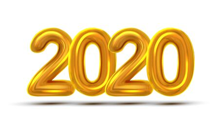 2020 New Year Celebrate Concept Banner Vector. Golden Air Blown Two Thousand Twenty 2020 Background. Festive Event Shiny Design Template Poster Realistic Illustration