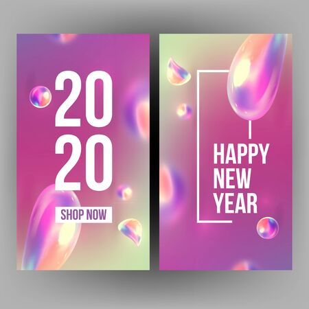 New Year Invitation Card Celebrating 2020 Vector. Realistic Water Blister Spangle And Number 2020 Two Thousand Twenty On Xmas Greeting-card Annonce. Creative Variegated Vertical Poster 3d Illustration