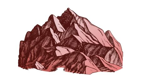 Peak Of Mountain Crag Landscape Hand Drawn Vector. High Altitude Mountain Place For Extreme Sport Alpinism, Skis Slalom Or Expedition Concept. Designed Layout Color Illustration