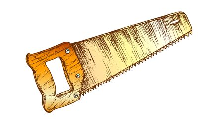Hand Saw Woodworker Instrument Closeup Vector. Saw Equipment For Cutting Wood. Handyman Manual Toothed Tool For Repair And Construct Drawn In Retro Style Color Illustration