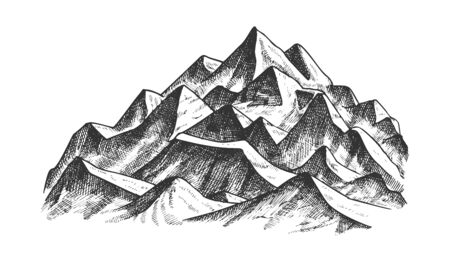 Summit Of Mountain Landscape Ink Texture Vector. High Altitude Mountain Place Advertising Alpine Skiing Health Sport Resort Concept. Pencil Designed Mockup Black And White Illustration Illustration