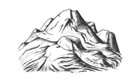 Snow Covering Mountain Landscape Hand Drawn Vector. Hill Crest Mountain Place For Extreme Sport Ski-alpinism, Expedition Concept. Pencil Designed Template Black And White Illustration