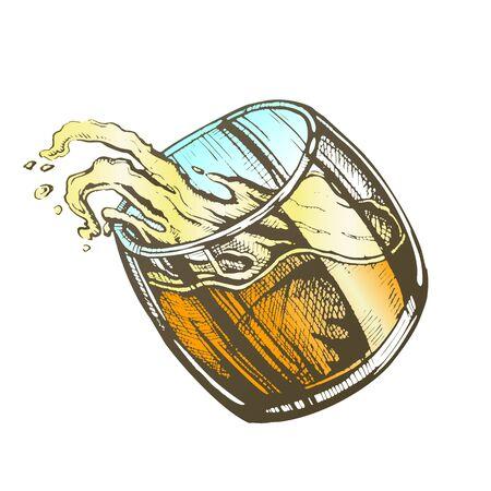 Verre incliné vecteur d'eau minérale saine fraîche. Concevoir un verre lisse avec une vague et une goutte d'éclaboussure de fluide clair et clair. Verrerie complète avec illustration de couleur de boisson non alcoolisée propre