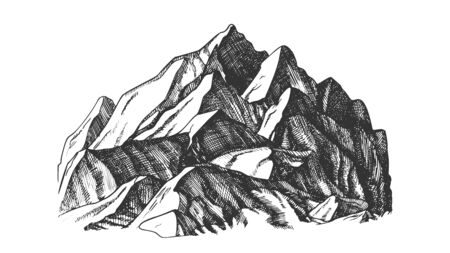 Peak Of Mountain Crag Landscape Hand Drawn Vector. High Altitude Mountain Place For Extreme Sport Alpinism, Skis Slalom Or Expedition Concept. Designed Layout Monochrome Illustration