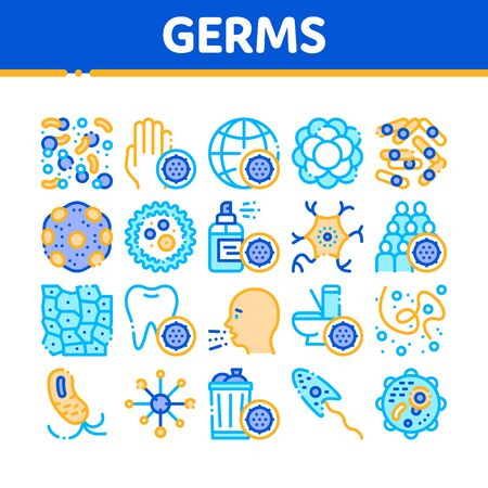 Collection Bacteria Germs Vector Sign Icons Set. Unhealthy Tooth And Dirty Hands, Sternutation Character And Illness People With Germs Linear Pictograms. Microbe Types Color Contour Illustrations