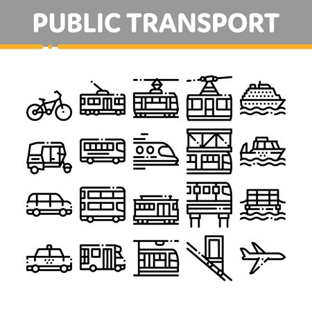 Collection Public Transport Vector Line Icons Set. Trolleybus And Bus, Tramway And Train, Cable Way And Monorail Transport Linear Pictograms. Car And Taxi, Plane And Ship Black Contour Illustrations
