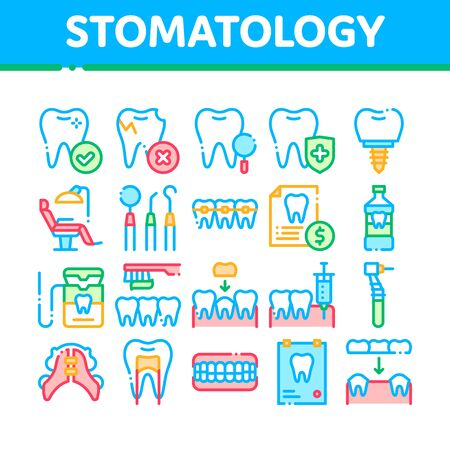 Stomatology Collection Vector Thin Line Icons Set. Stomatology Dentist Equipment And Chair, Healthy And Unhealthy Tooth Linear Pictograms. Jaw Denture, Injection Anesthesia Color Contour Illustrations