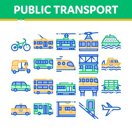 Collection Public Transport Vector Line Icons Set. Trolleybus And Bus, Tramway And Train, Cable Way And Monorail Transport Linear Pictograms. Car And Taxi, Plane And Ship Color Contour Illustrations