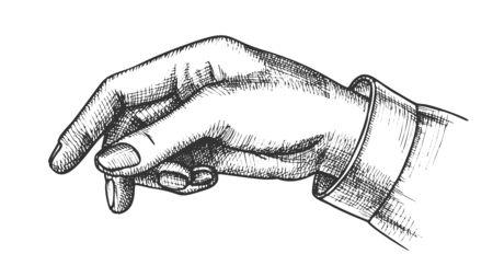 Doigt de pointeur de main féminine montrant le vecteur de geste. Flèche de doigt d'index de bras de femme élégante suggérant quelque chose. Fille Index Poignet Gestes Choix Monochrome Closeup Illustration Dessin Animé