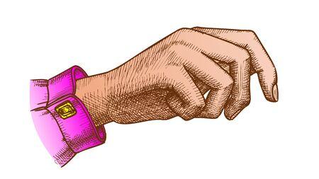 Color Girl Hand Gesture Holding Bag Handdrawn Vector. Gesturing Handbag On Woman Arm Carpus. Female Fingers And Nails Designed In Vintage Style Closeup Illustration Standard-Bild - 132380634