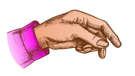 Color Female Hand Pointer Finger Showing Gesture Vector. Elegant Woman Arm Index Finger Arrow Suggesting On Something. Girl Forefinger Wrist Gesturing Choice Closeup Cartoon Illustration Standard-Bild - 132380635