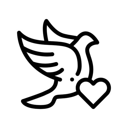 Pigeon And Heart Wedding Thin Line Vector Icon. Love Symbol And Pigeon Bird Element Linear Pictogram. Party Preparation And Marriage Template Monochrome Contour Concept Illustration