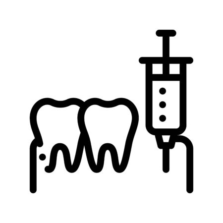Stomatology Anesthesia Injection Vector Sign Icon Thin Line. Anesthesia Dentist Instrument Equipment And Device Linear Pictogram. Medical Treatment Therapy Dentistry Monochrome Contour Illustration