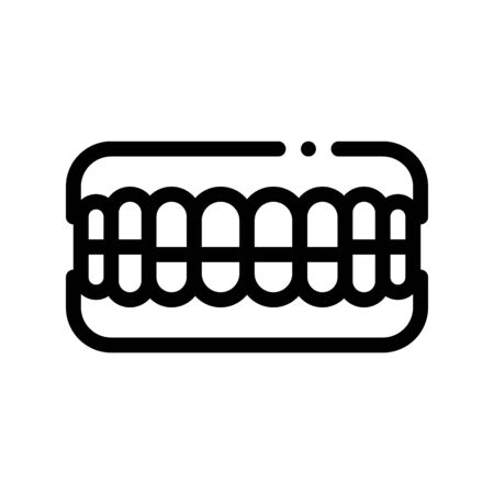 Set Of False Teeth Stomatology Vector Sign Icon Thin Line. Stomatology Dentist Instrument Equipment And Device Linear Pictogram. Medical Treatment Therapy Dentistry Monochrome Contour Illustration