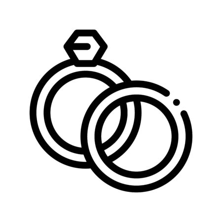 Rings Detail For Wedding Ceremony Vector Icon Thin Line. Jewelry Rings For Married Linear Pictogram. Party Preparation And Marriage Template Monochrome Contour Concept Illustration Ilustrace