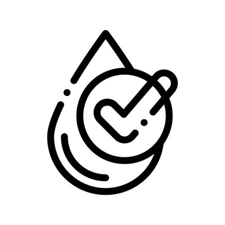 Healthy Water Drop Vector Sign Thin Line Icon. Water Drop, Filter Liquid Clearing Linear Pictogram. Recycling Environmental Ecosystem Plumbing Industry Monochrome Contour Illustration