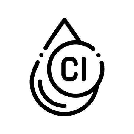 Clorum Liquid Drop Water Treatment Vector Icon Sign Thin Line. Water Treatment Linear Pictogram. Recycling Environmental Ecosystem Plumbing Industry Monochrome Contour Illustration