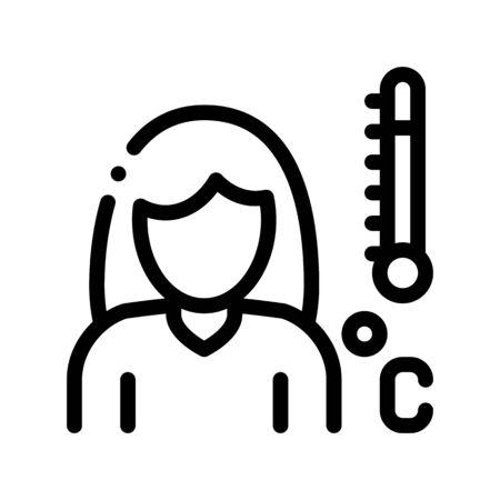 High Temprature Symptomp Of Pregnancy Vector Icon Sign Thin Line. Character Woman Silhouette And Medical Thermometer, Symptomp Of Pregnancy Pictogram. Future Mother Monochrome Contour Illustration Illustration