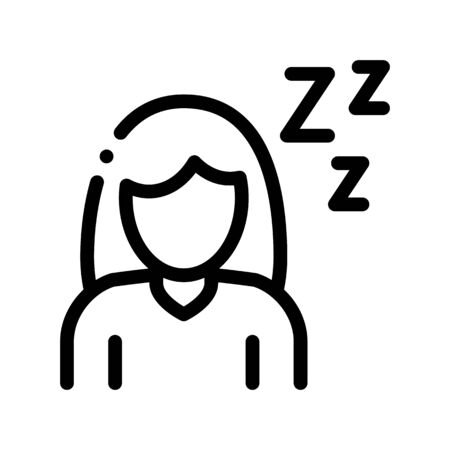 Sleepiness Symptomp Of Pregnancy Vector Sign Icon Thin Line. Character Woman Silhouette Sleeping, Symptomp Of Pregnancy Pictogram. Diagnosis Of Future Mother Monochrome Contour Illustration