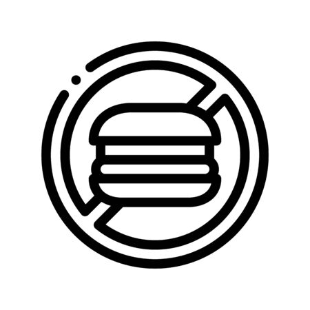 Anti Unhealthy Food Sign Vector Thin Line Icon. Forbidden Burger Hamburger Food, Symptomp Of Pregancy Pictogram. Characteristic And Diagnosis Of Future Mother Monochrome Contour Illustration Illustration