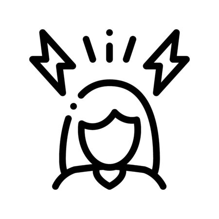 Headache Symptomp Of Pregnancy Vector Sign Icon Thin Line. Character Woman Silhouette And Lightning, Symptomp Of Pregnancy Pictogram. Diagnosis Of Future Mother Monochrome Contour Illustration