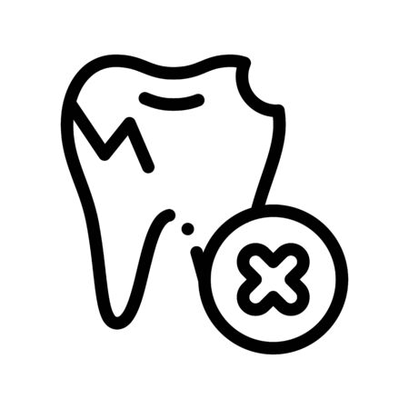 Dentist Stomatology Unhealthy Tooth Vector Icon Sign Thin Line. Caries And Debris Bad Tooth Linear Pictogram. Chairside Assistance Dental Health Service Monochrome Contour Illustration Illustration