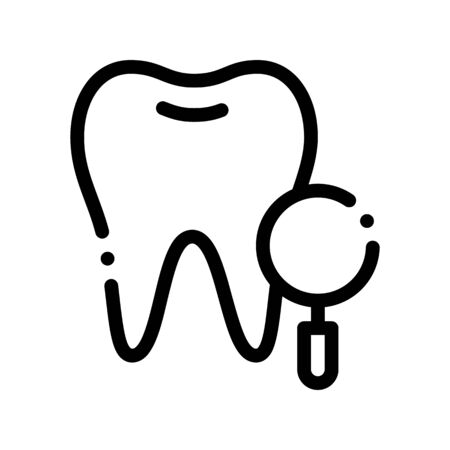 Dentist Stomatology Tooth Survay Vector Sign Icon Thin Line. Magnifier And Healthy Tooth Enamel Linear Pictogram. Chairside Assistance Dental Health Service Monochrome Contour Illustration