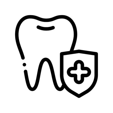 Dentist Stomatology Tooth Protection Vector Icon Sign Thin Line. Adamantine Substance Of Tooth Enamel Linear Pictogram. Chairside Assistance Dental Health Service Monochrome Contour Illustration