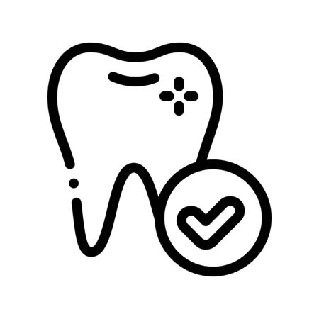 Dentist Stomatology Healthy Tooth Vector Icon Sign Thin Line. Health Tooth And Tool Device Linear Pictogram. Chairside Assistance Dental Healthcare Service Monochrome Contour Illustration Illustration
