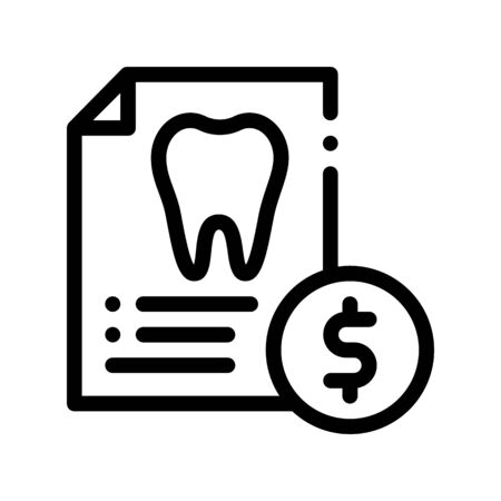 Dentist Stomatology List Vector Thin Line Icon. Tooth On Paper List And Dollar Coin, Tool And Device Linear Pictogram. Chairside Assistance Dental Health Service Monochrome Contour Illustration