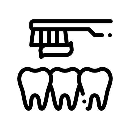 Dentist Teeth Cleaning Vector Thin Line Sign Icon. Teeth And Toothbrush With Toothpaste, Tool And Device Linear Pictogram. Chairside Assistance Dental Health Service Monochrome Contour Illustration