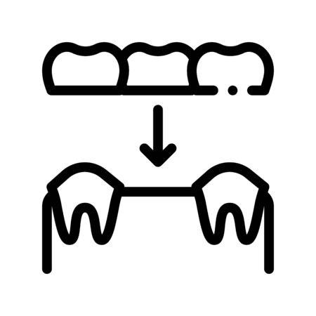 Dental Prosthesis Stomatology Vector Sign Icon Thin Line. Stomatology Dentist Instrument Equipment And Device Linear Pictogram. Medical Treatment Therapy Dentistry Monochrome Contour Illustration