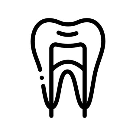 Dental Tooth Stomatology Vector Thin Line Icon. Stomatology Dentist Equipment And Device Linear Pictogram. Medical Healthcare And Treatment Therapy Dentistry Monochrome Contour Illustration