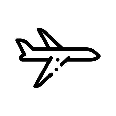 Public Transport Airplane Vector Thin Line Icon. Fast Airplane Flying Machine, Urban Passenger Transport Linear Pictogram. City Transportation Passage Service Contour Monochrome Illustration
