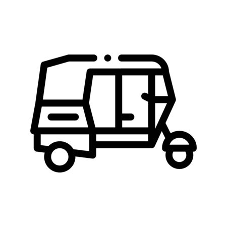 Public Transport Rickshaw Vector Thin Line Icon. Indian Tuk Tuk Rickshaw Taxi, Urban Passenger Transport Linear Pictogram. City Transportation Passage Service Contour Monochrome Illustration