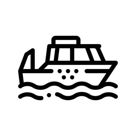 Public Transport Water Taxi Vector Thin Line Icon. Sea River Ship Taxi Ferrying, Urban Passenger Transport Linear Pictogram. City Transportation Passage Service Contour Monochrome Illustration