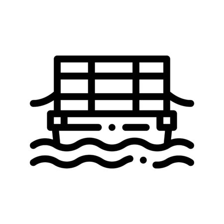 Public Transport Cable Ferry Vector Thin Line Icon. Sea River Ship Cable Ferry, Urban Passenger Transport Linear Pictogram. City Transportation Passage Service Contour Monochrome Illustration