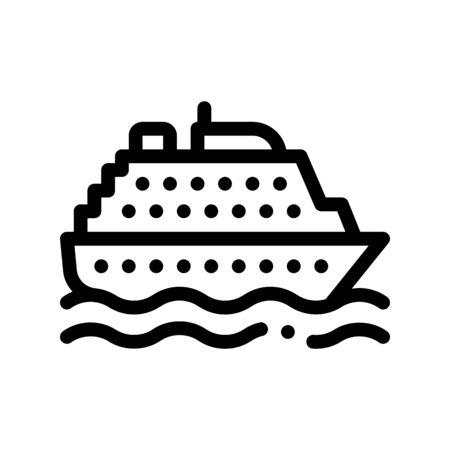 Public Transport Ferry Vector Thin Line Sign Icon. Sea Ship Boat Ferry, Urban Passenger Transport Linear Pictogram. City Transportation Passage Service Contour Monochrome Illustration Ilustração