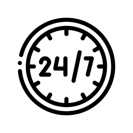 Twenty-four-seven Service Vector Thin Line Icon. Twenty Four Hours Seven Days In Week, Hotel Performance Of Service Equipment Linear Pictogram. Business Hostel Items Monochrome Contour Illustration