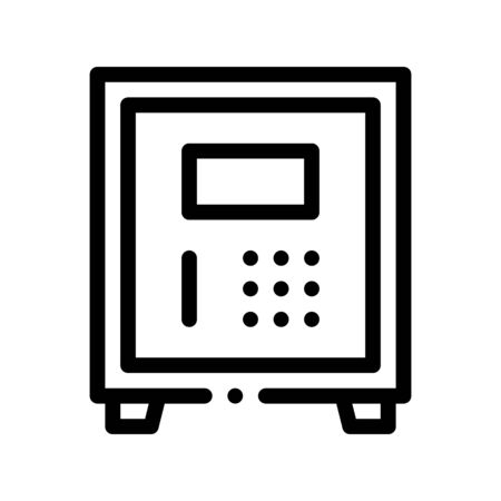 Electronic Safe Deposit Vector Thin Line Icon. Safe Deposit For Guests Valuables, Hotel Performance Of Service Equipment Linear Pictogram. Business Hostel Items Monochrome Contour Illustration Ilustração