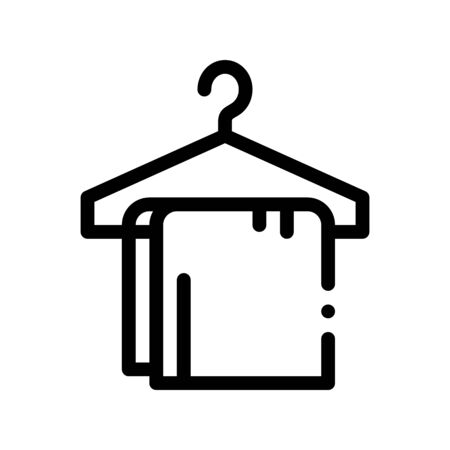 Dress Things On Hanger Vector Thin Line Sign Icon. Clothing On Hanger Hotel Performance Of Service Equipment Linear Pictogram. Business Hostel Items Monochrome Contour Illustration Illustration