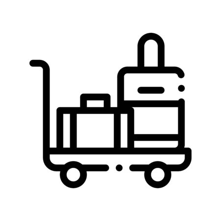Baggage Cart With Valise Vector Thin Line Icon. Luggage On Transportation Cart Hotel Performance Of Service Equipment Linear Pictogram. Business Hostel Items Monochrome Contour Illustration