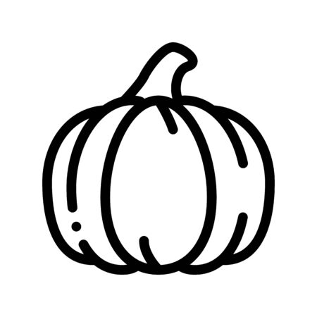 Healthy Food Vegetable Pumpkin Vector Sign Icon Thin Line. Vegetarian Bio Eco Agriculture Pumpkin Linear Pictogram. Organic Healthcare Vitamin Nutrition Monochrome Contour Illustration